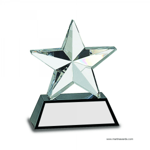 "6"" Crystal 3D Star on Black Base"
