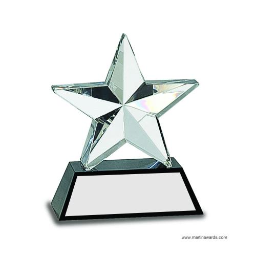 """6"""" Crystal 3D Star on Black Base"""