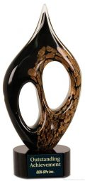 10 1/4 inch Black/Gold Coral Art Glass