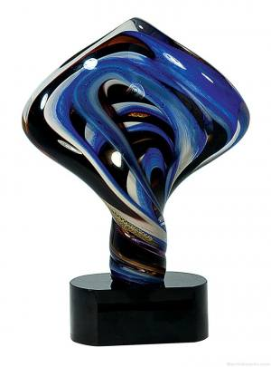 11 1/2 inch Diamond Twist Art Glass on Black Base