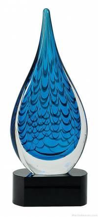 12 1/2 inch Blue Rain Drop Art Glass on Black Base