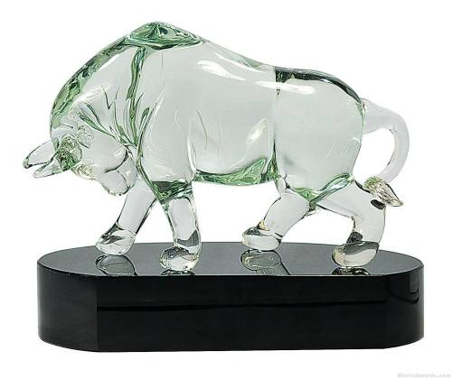 8 1/4 inch Clear Art Glass Bull on Black Base
