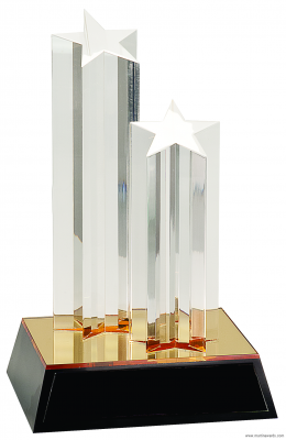 """9 1/2"""" Clear Double Star Column Acrylic with Gold/Black Base"""