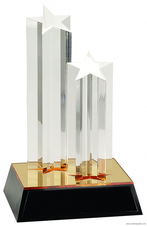 "9 1/2"" Clear Double Star Column Acrylic with Gold/Black Base"