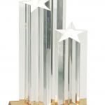 11 3/4″ Clear Triple Star Column Acrylic with Gold/Black Base 1