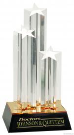 "11 3/4"" Clear Triple Star Column Acrylic with Gold/Black Base"