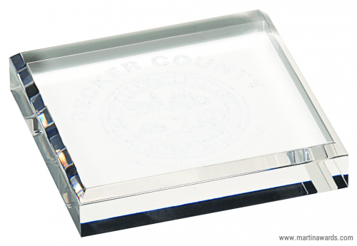 """3 3/4"""" x 3 3/4"""" Clear Acrylic Paperweight"""