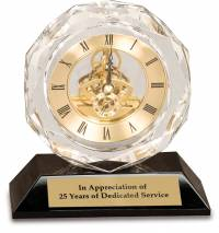 5 1/2 inch Clear Crystal Clock on Black Pedestal Base