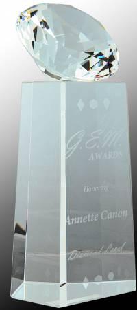 Crystal Diamond on Clear Crystal Pedestal