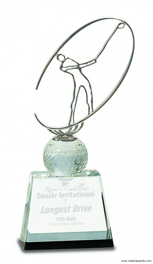 Clear/Black Crystal Golf Award with Silver Metal Oval Figure