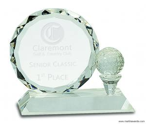 "5 1/4"" Round Facet Crystal with Golf Ball on Clear Pedestal Base"