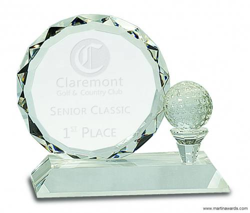 """5 1/4"""" Round Facet Crystal with Golf Ball on Clear Pedestal Base"""