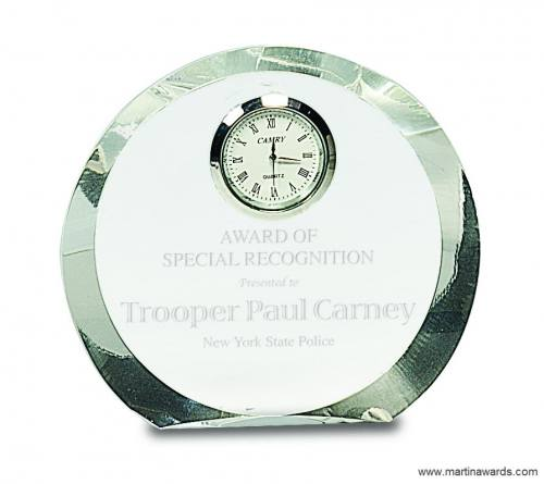 """4 1/2"""" Clear Crystal Round with Clock"""