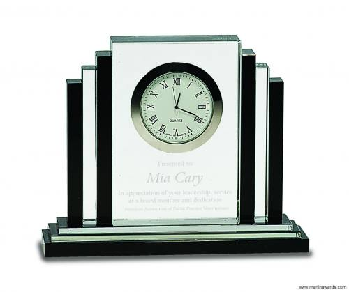 "6"" Clear Crystal with Clock with Black Crystal Trim"