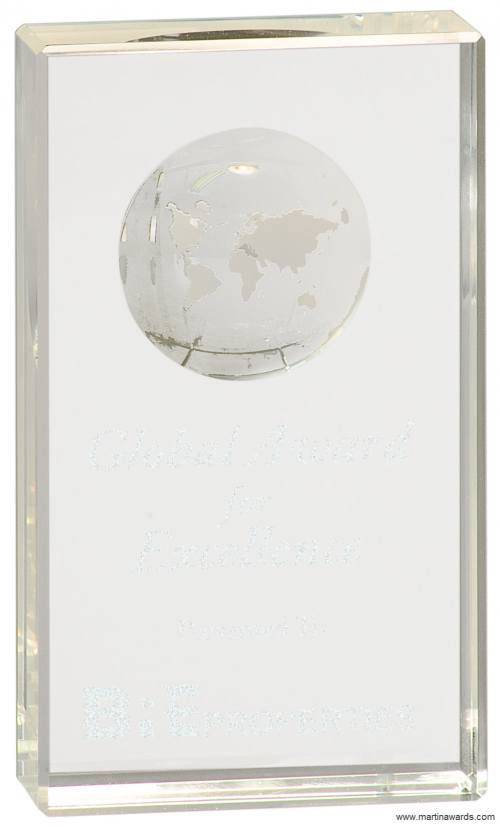 Self Standing Crystal Rectangle with Globe Etching