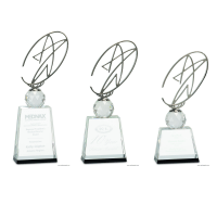 Clear Black Crystal Award with Silver Metal Oval Star