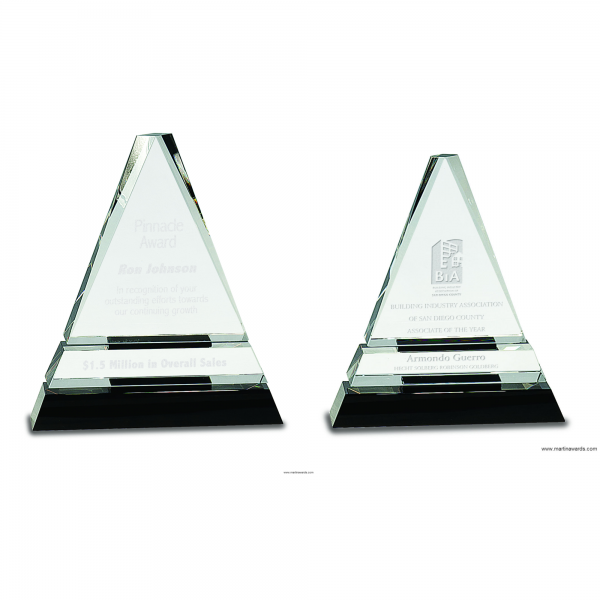 Clear Crystal Triangle on Black Crystal Pedestal Base