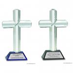 Crystal Cross Award on Pedestal Base