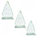 Crystal Glass Triangle Awards on Clear Base
