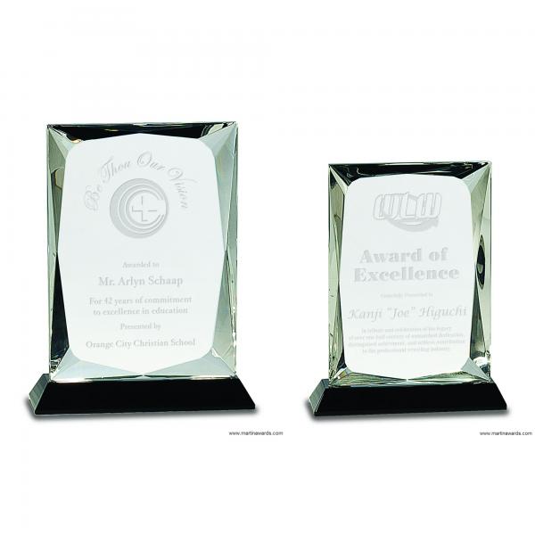 Crystal Rectangle Award on Black Base