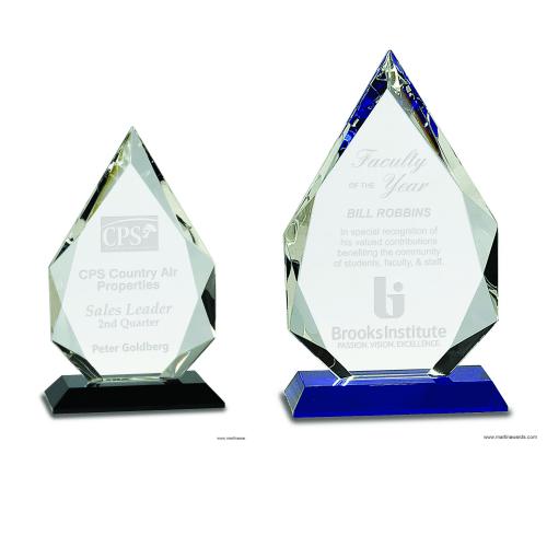 Diamond Crystal on Black or Blue Pedestal Base
