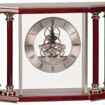 Silver/ Rosewood 4-Pillar Piano Finish Clock