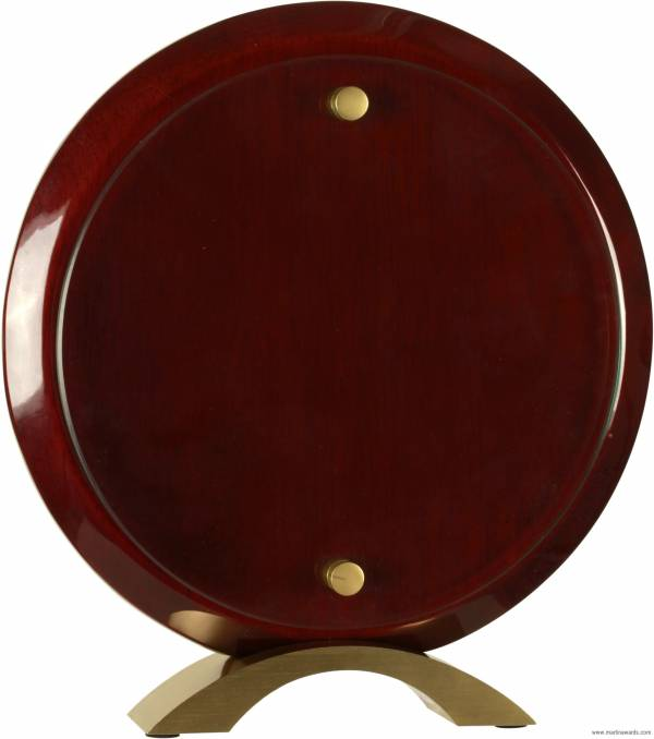 Round Rosewood Piano Finish Floating Acrylic Standup Acrylic Award