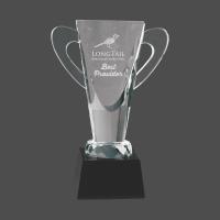 """9"""" Crystal Cup on Black Pedestal Base"""