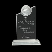 """7 1/4"""" Clear Crystal with Inset Crystal Golf Ball on Clear Base"""