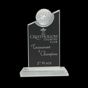 "7 1/4"" Clear Crystal with Inset Crystal Golf Ball on Clear Base"