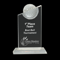 """8"""" Clear Crystal with Inset Crystal Golf Ball on Clear Base"""