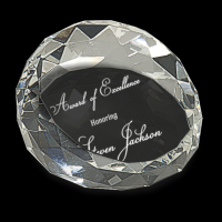 "2 1/2"" x 1 3/4"" Clear Round Crystal Facet Paperweight"