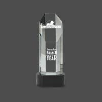 """9 3/4"""" Octagon Slant-Top Crystal on Black Pedestal Base"""