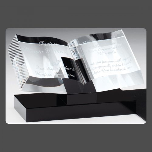"""7 1/2"""" x 4 3/4"""" Crystal Open Book on Black Base"""