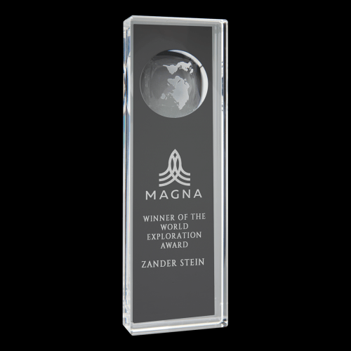 """2 3/4"""" x 8 3/4"""" Clear Crystal Rectangle with Engraved Globe"""