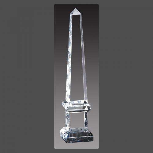 """3"""" x 14 1/2"""" Crystal Obelisk Towers on Pedestal"""