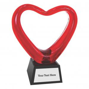 MA0488 - Red Heart Art Glass with Black Base - 6 1/2""