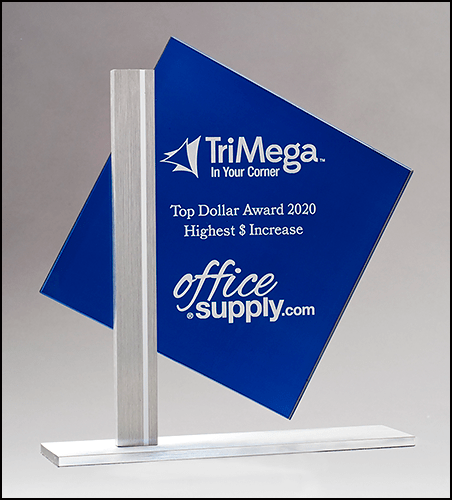 MA0501- Diamond Series Blue Silk Screened Glass with Brushed Aluminum Post and Base