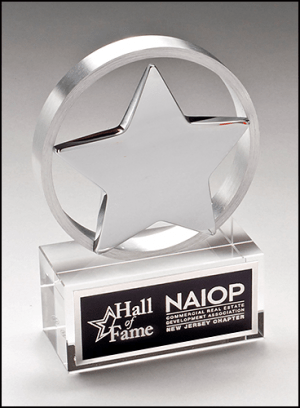 MA0504- Chrome Plated Star Mounted on Brushed Aluminum Ring with Crystal Base
