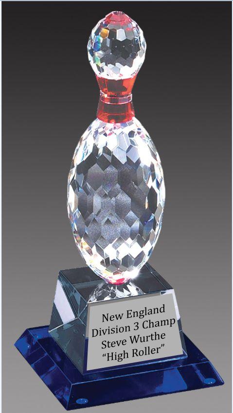 Crystal Bowling Pin Trophy