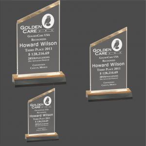 Gold Reflection Beveled Peak Acrylic with Gold Mirror Base