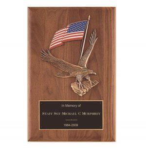 Patriotic American Flag Eagle Plaque