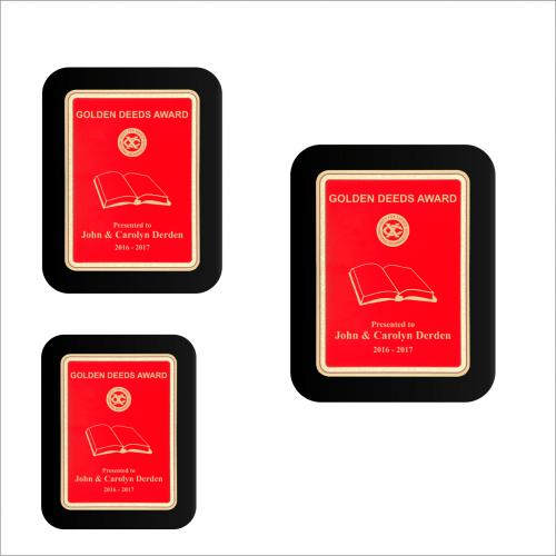 Red Plate Black Piano-finish Plaque w/ Elliptical Edge