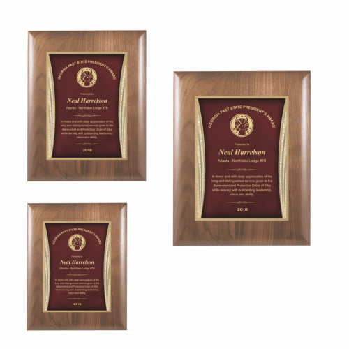 Walnut Plaque with Red Showtime Plate