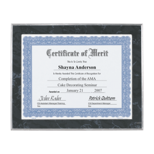 Black Marble Wood Slide-in Photo or Certificate Plaque