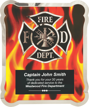 MA4500 - Firefighter Hero Plaque with Vertical Flames