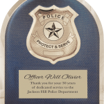 MA4502 – 10 1/2″ x 13″ Police Hero Plaque with Chrome Badge