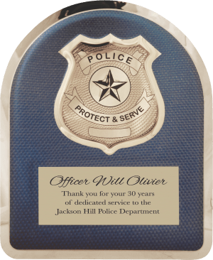 MA4502 - 10 1/2″ x 13″ Police Hero Plaque with Chrome Badge