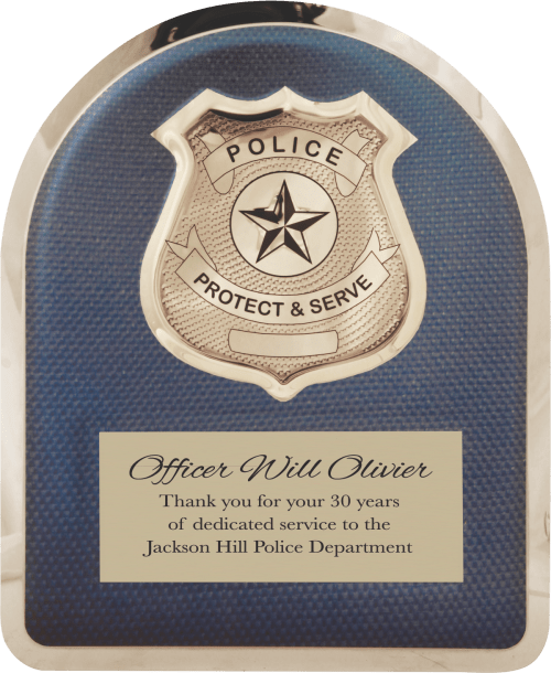 MA4502 - 10 1/2″ x 13″ Police Hero Plaque with Chrome Badge