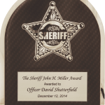 MA4503 – 10 1/2″ x 13″ Sherrif's Department Badge on Black Background Hero Plaque Sheriff Hero Plaque with Chrome Star